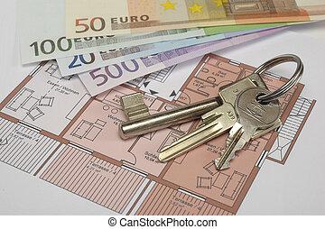 schlüssel, und, geld, auf, blaupause