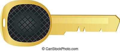 schlüssel, vektor, metall, gelber , abbildung