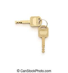 schlüssel, weißes, freigestellt, hintergrund