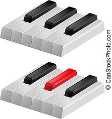 schlüssel, weißes, schwarzes klavier