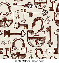 schlüssel, weinlese, seamless, hand, schlösser, muster,...