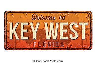 schlüssel, zeichen, herzlich willkommen, rostiges , weinlese...