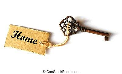 schlüssel, zu, dein, daheim