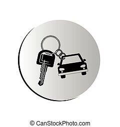 schlüsselanhänger, geformt, auto, taste, degraded, ikone