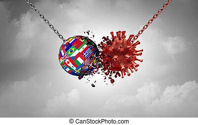 schlacht, virus, pandemisch