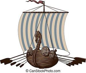 schlacht, wikinger schiff