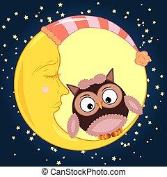 schlafend, reizend, sitzen, himmelsgewölbe, mond, halbmond, sternen, nacht, karikatur, eule, runder