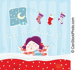 schlafenden kind, während, weihnachten, nacht