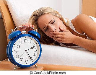 schlaflos, mit, stempeln, der, night., ehefrau, could, not,...