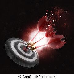 schlagen, 3d, bullseye, dartpfeile