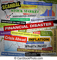 schlagzeilen, finanziell, katastrophe, geschaeftswelt