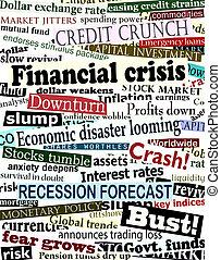 schlagzeilen, finanziell, krise