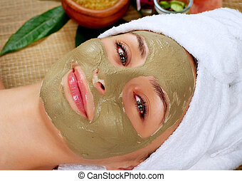 schlamm, salon, frau, mask., spa