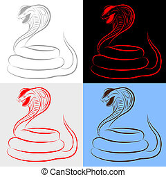 schlange, satz, kobra