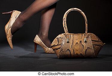 schlangenhaut, schuhe, und, handtasche