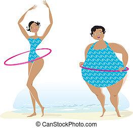 schlank, und, groß, mädels, trainieren