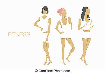 schlanke, form, fitness, mädels