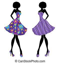 schlanke, stilvoll, mädels, in, kurz, kleidet