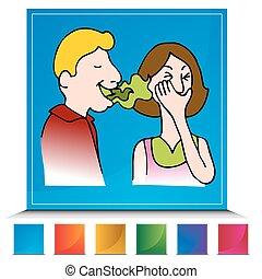 schlecht atem, taste, satz