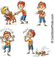 schlechte, behavior., lustiges, karikatur, zeichen