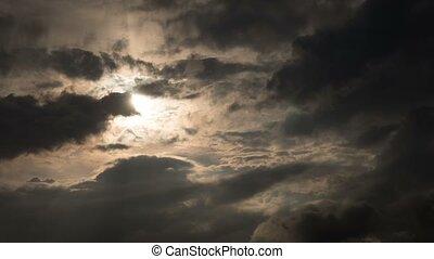 schlechtes wetter, wolkenhimmel, hülle, sonne