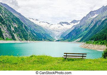 schlegeis, アルプス, 湖, 机, オーストリア, 空
