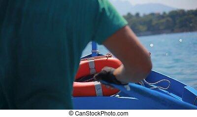 schleife, blaues boot