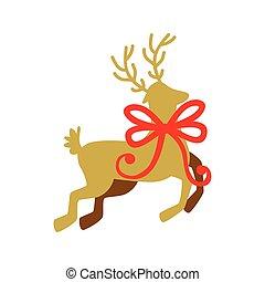 schleife, geschenkband, rentier, weihnachten, silhouette