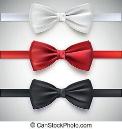 schleife, realistisch, schwarz, weißes, schlips, rotes