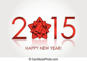 schleife, vektor, hintergrund, jahr, 2015, neu , rotes , glücklich