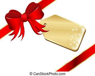 schleife, weihnachtsgeschenk, etikett