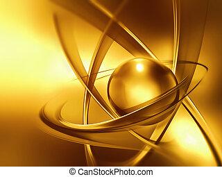 schließen, atom, auf, goldenes