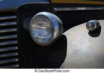 schließen, auto, headlight., auf, retro