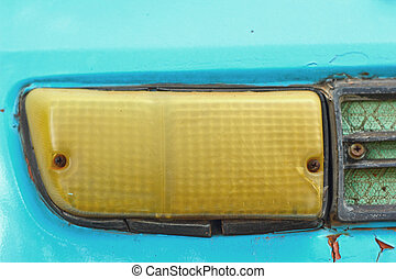 schließen, auto, headlights., auf, retro
