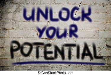 schließen, begriff, potential, dein