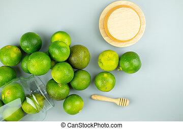 schließen, grün, auf, lime.
