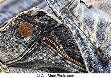 schließen, jeansstoff, auf