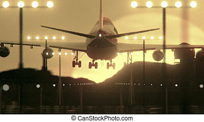 schließen, motorflugzeug, auf, landung