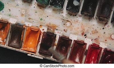 schließen, palette, auf, aquarelle
