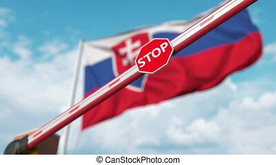 schließen, slowakei, flag., hochkonjunktur, eingeschränkt, halt, umrandungen, überfahrt, gegen, sperre, sicher, zeichen, bann, slowake, oder