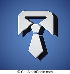 schlips, weißes, vektor, symbol