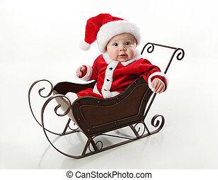 schlitten, baby, santa, sitzen
