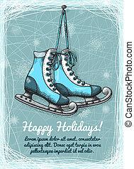 schlittschuh, winter, feiertage, einladung