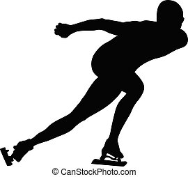 schlittschuhlaufen, athlet, geschwindigkeit, mann