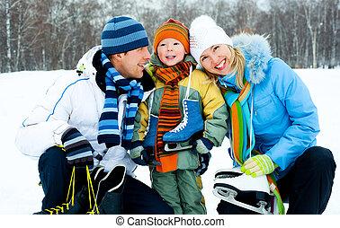 schlittschuhlaufen, gehen, familie, eis