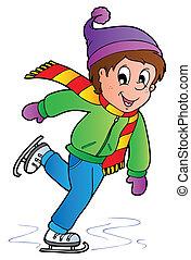 schlittschuhlaufen, junge, karikatur