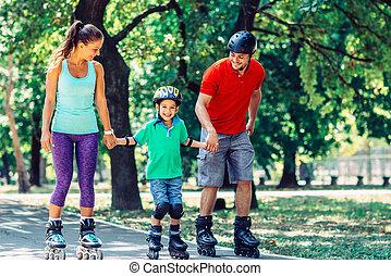 schlittschuhlaufen, kind, rolle, familie, eins