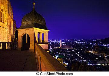 Schloss Heidelberg view and night panorama of city