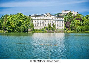 Schloss Leopoldskron with Hohensalzburg Fortress in Salzburg, Austria