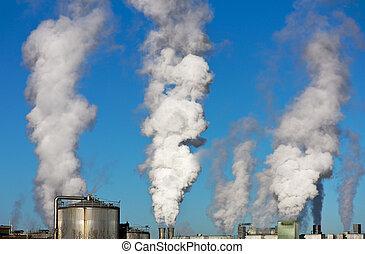 schlote, globaal, milieu, smoking, het verwarmen, vervuiling